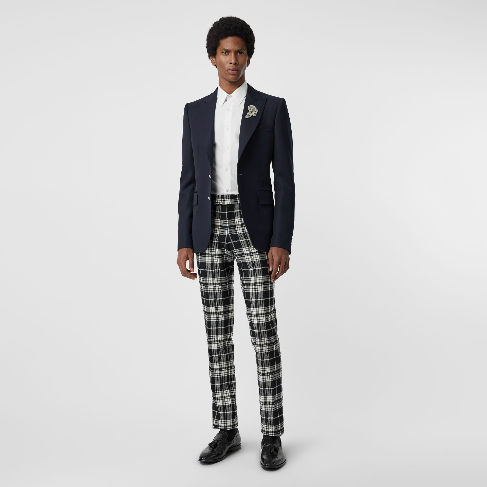 Slim Fit Tartan Wool Cashmere Tailored Trousers in Black - Men | Burberry - gallery image 0
