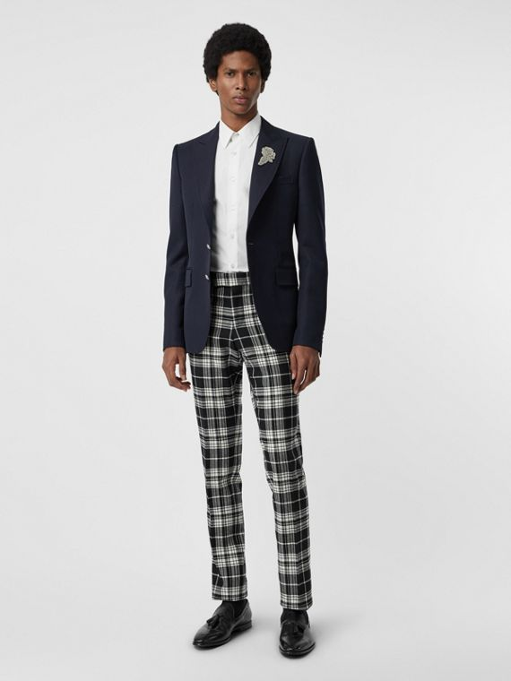 Slim Fit Tartan Wool Cashmere Tailored Trousers in Black
