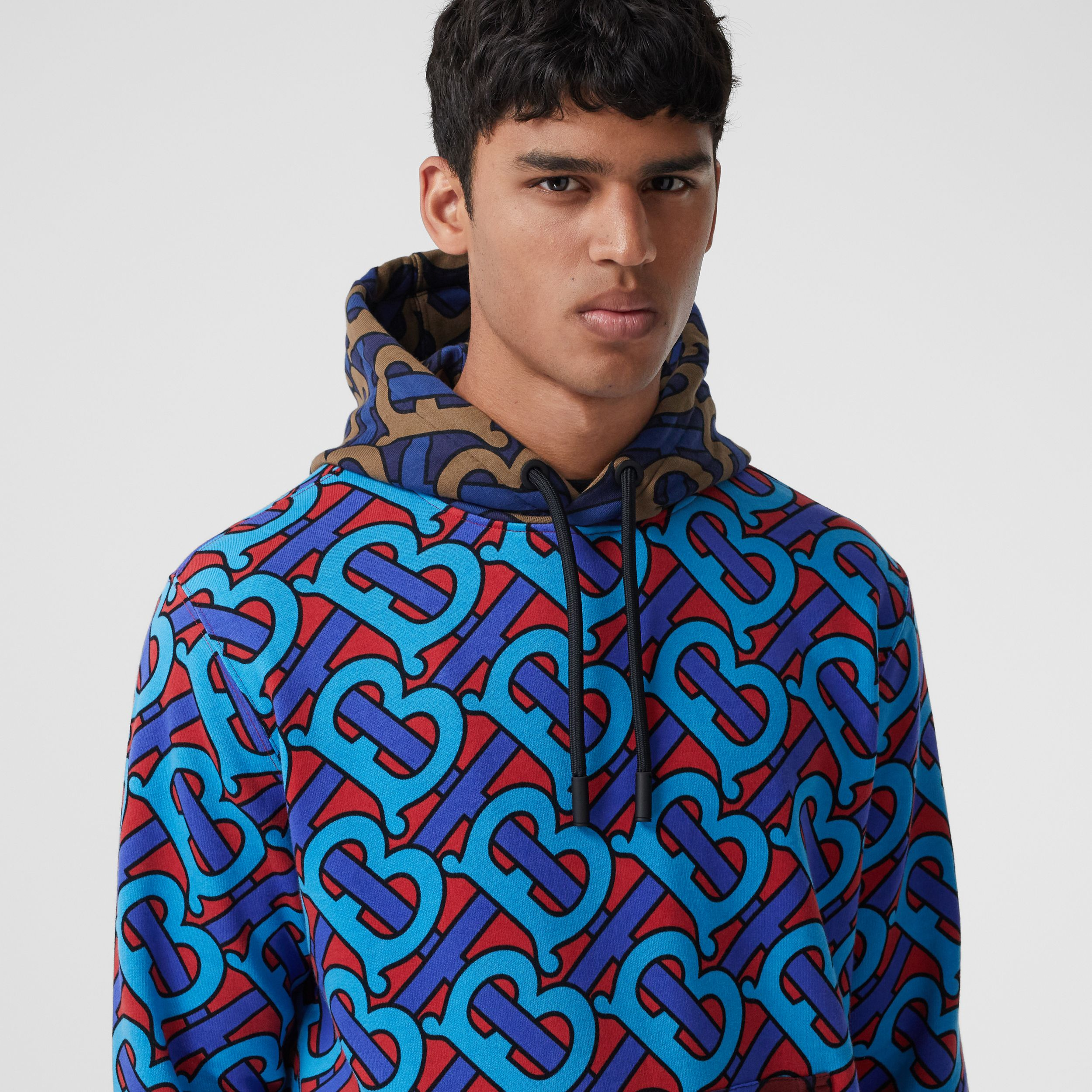 Monogram Print Cotton Hoodie in Bright Cherry Red - Men | Burberry - 2