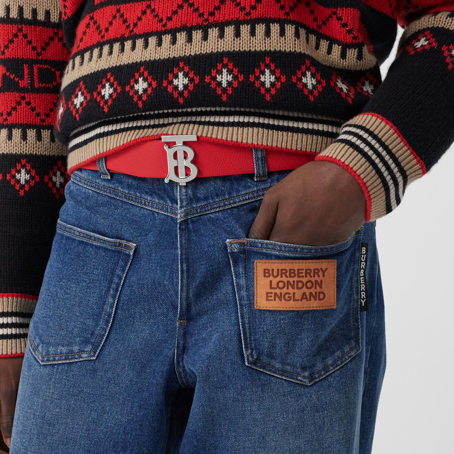 Reversible Monogram Motif Grainy Leather Belt in Military Red/black - Men | Burberry United Kingdom - gallery image 2