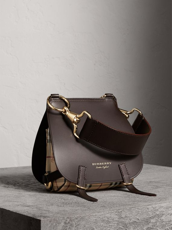 The Bridle Bag in Leather and Haymarket Check in Dark Clove Brown