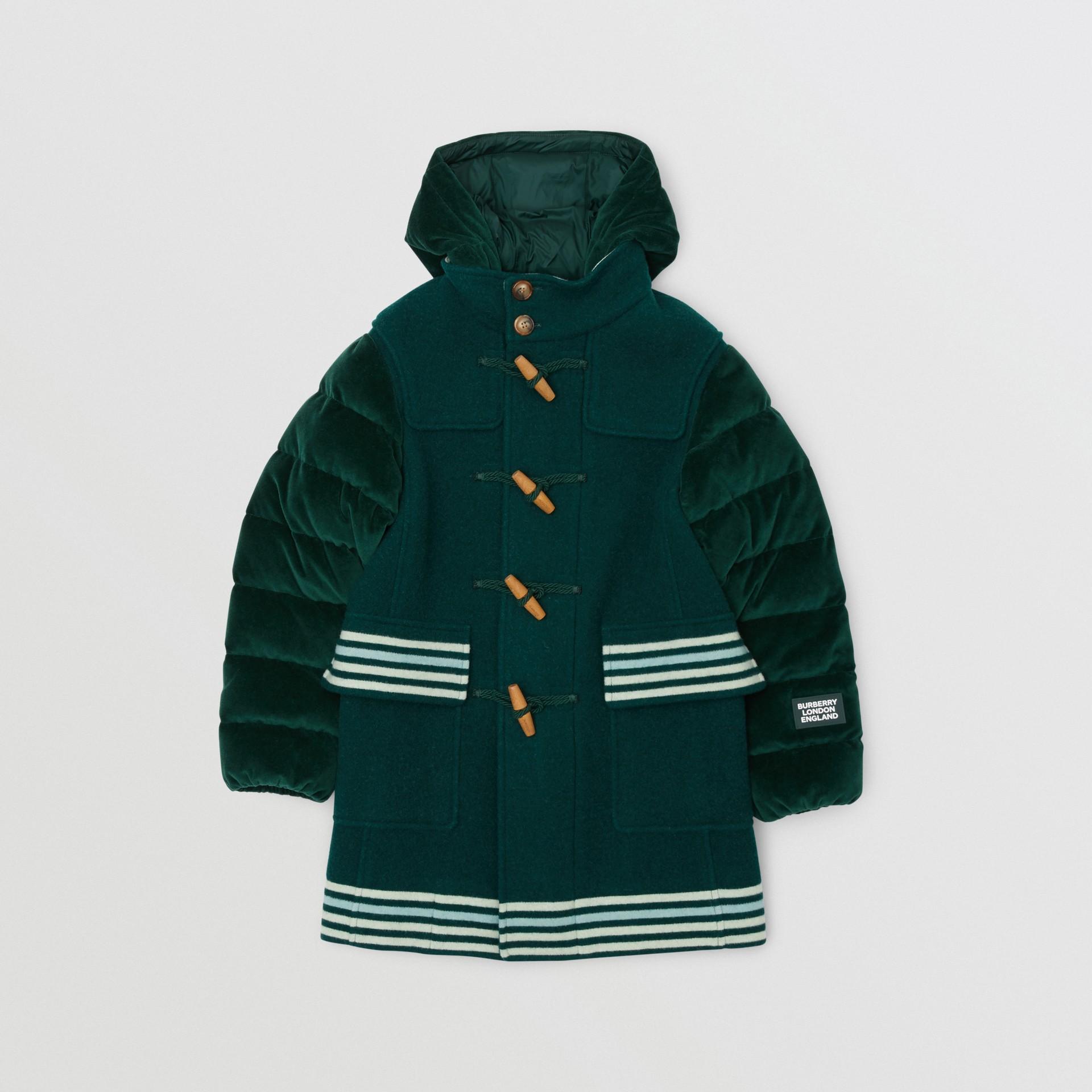 Velvet Puffer Detail Wool Duffle Coat in Dark Pine Green | Burberry - gallery image 0