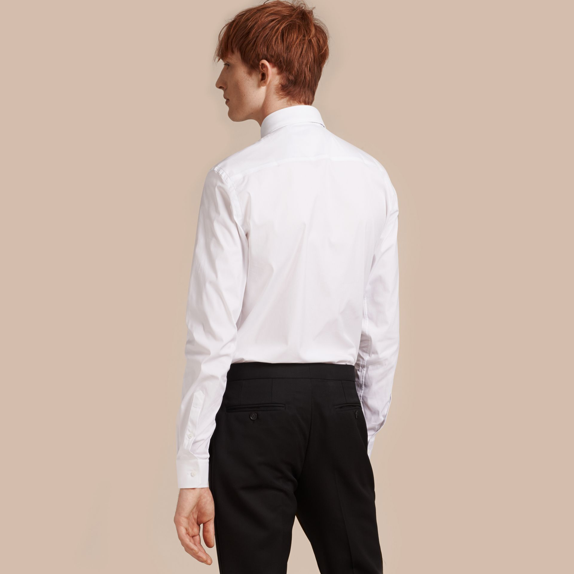 Slim Fit Button-down Collar Stretch-cotton Shirt in White - Men | Burberry Singapore - gallery image 3