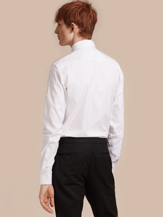 White Slim Fit Button-down Collar Stretch-cotton Shirt White - cell image 2