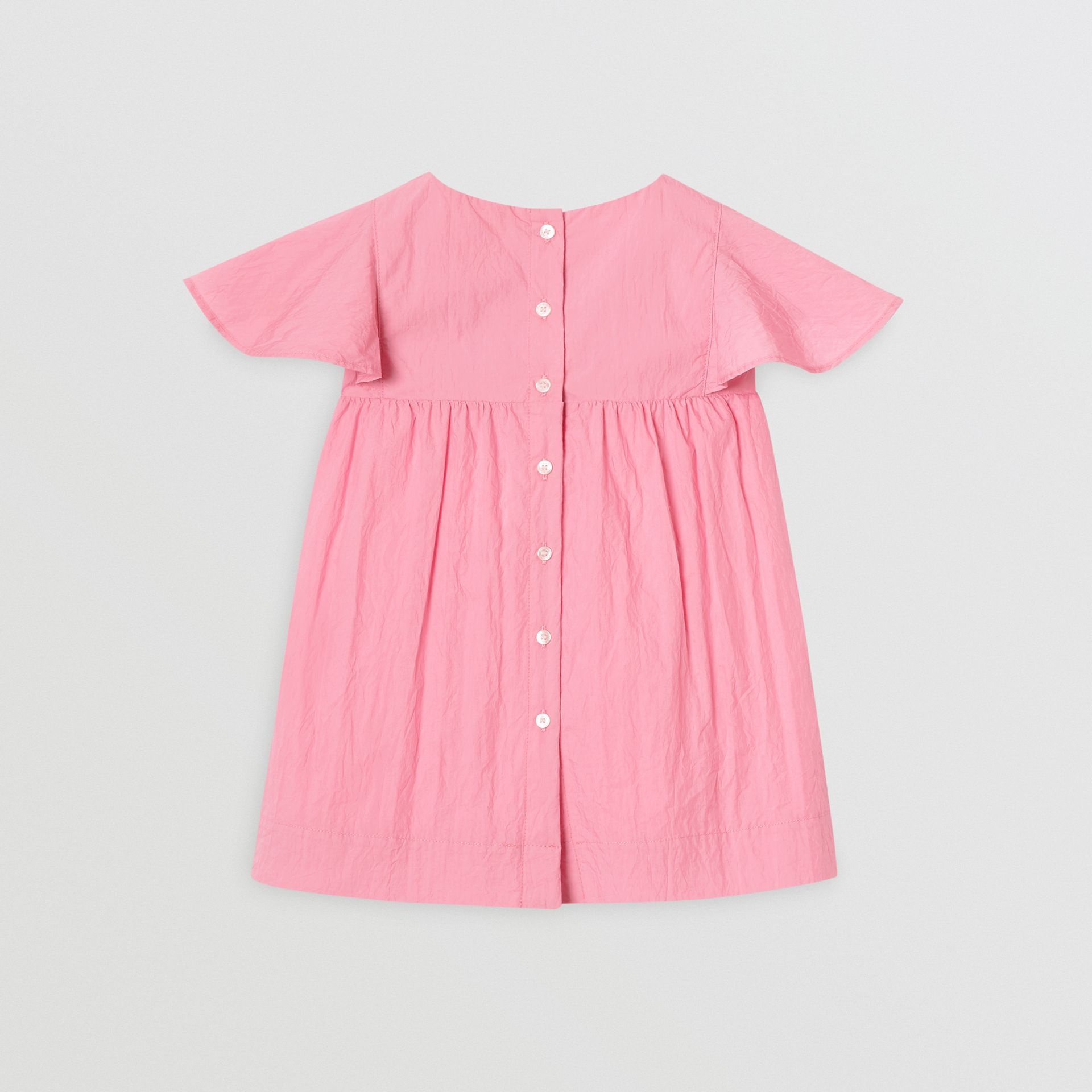 Ruffled Detail Crinkled Cotton Blend Dress in Bright Rose - Children | Burberry - gallery image 3