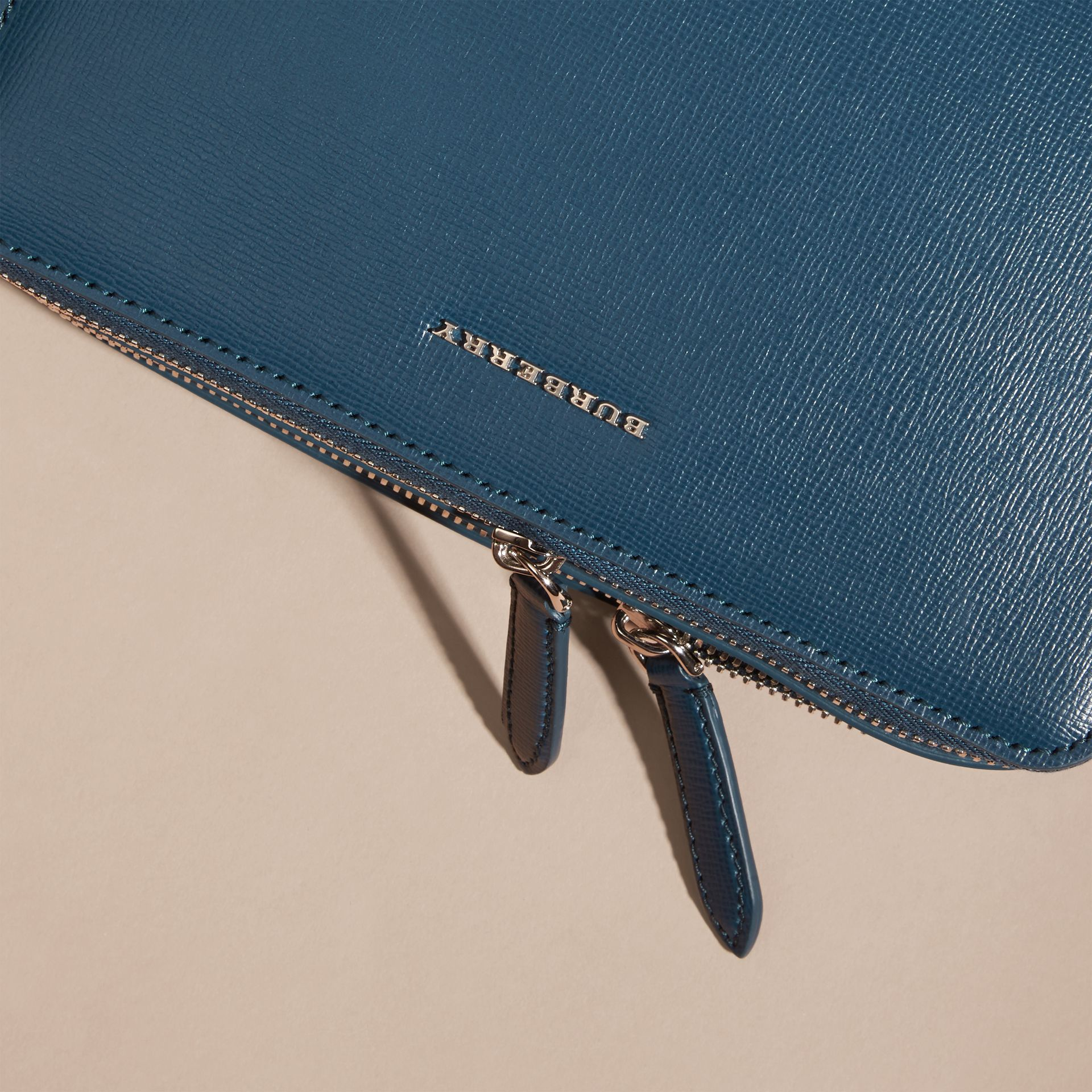 London Leather Pouch Mineral Blue - gallery image 2