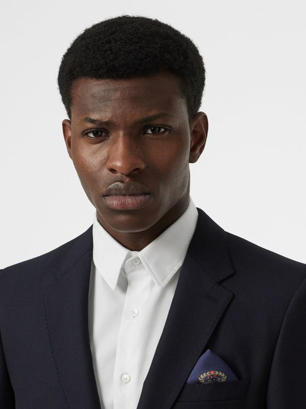 Archive Logo Print Silk Pocket Square in Navy - Men | Burberry Singapore - cell image 2