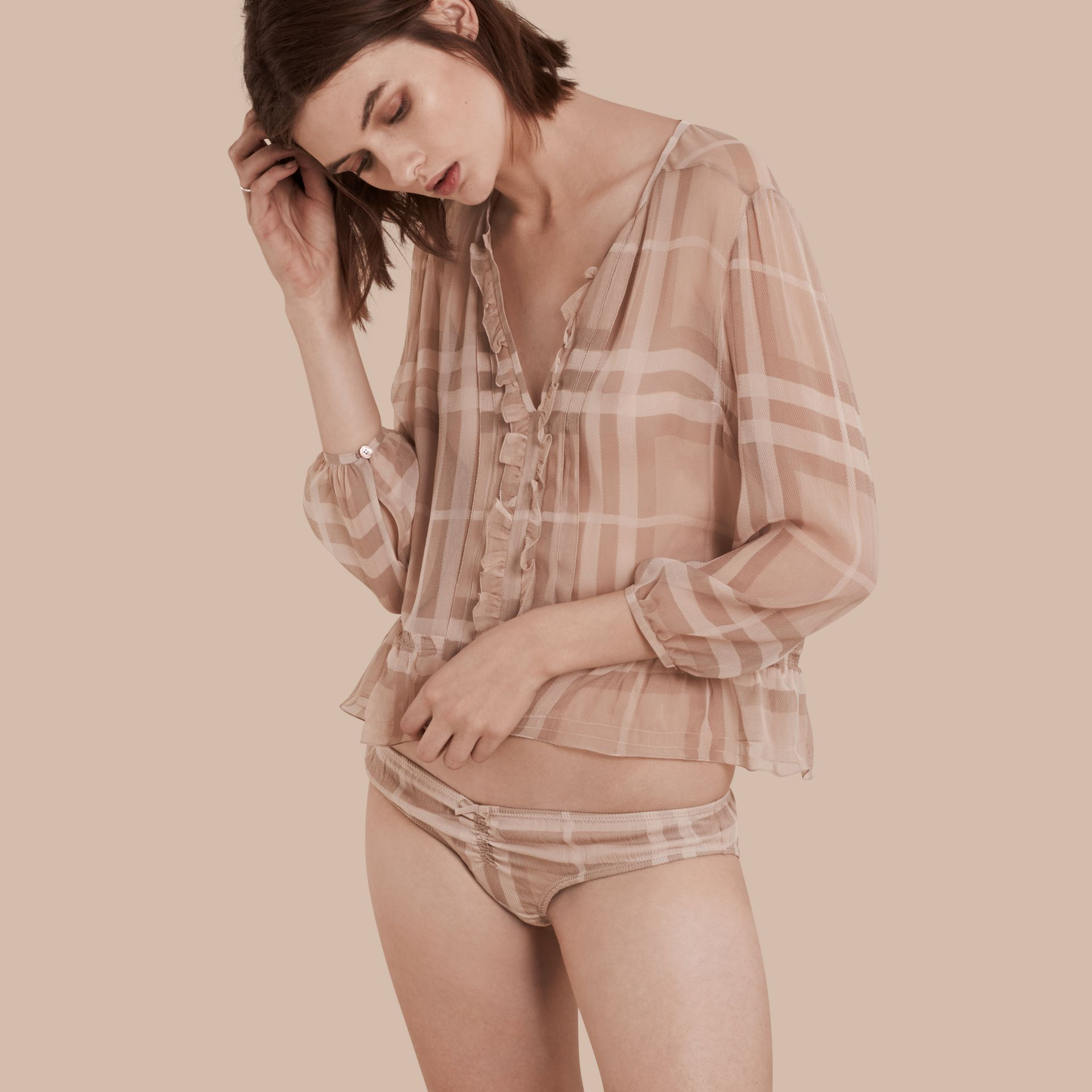 Nude Tonal Check Ruffle Detail Silk Crepon Top Nude - gallery image 1