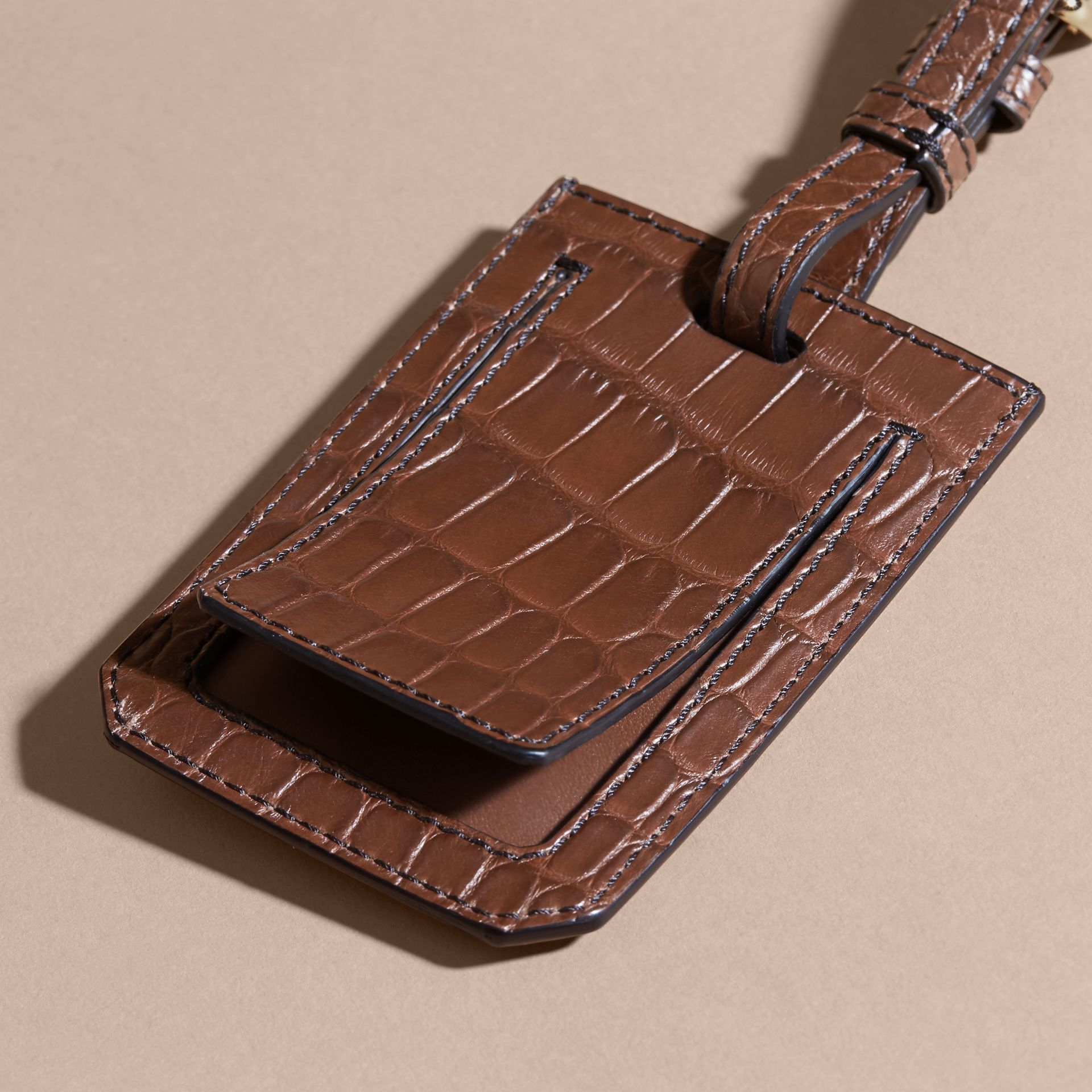 Alligator Luggage Tag in Flax Brown | Burberry - gallery image 4