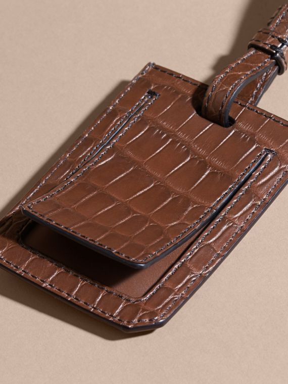 Porte-étiquette en alligator (Marron Lin) | Burberry - cell image 3