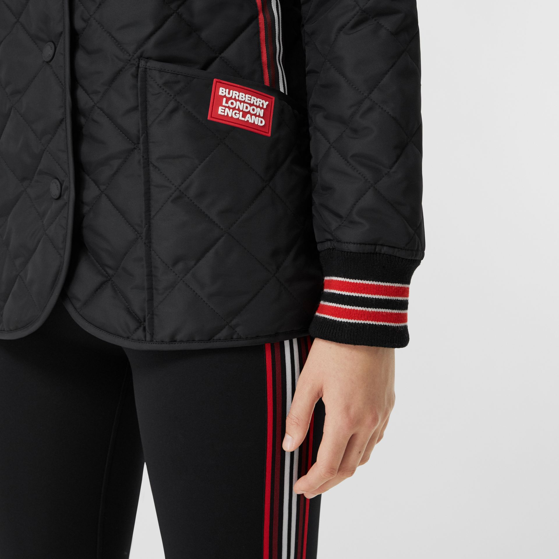 Striped Trim Diamond Quilted Barn Jacket in Black - Women | Burberry - gallery image 4