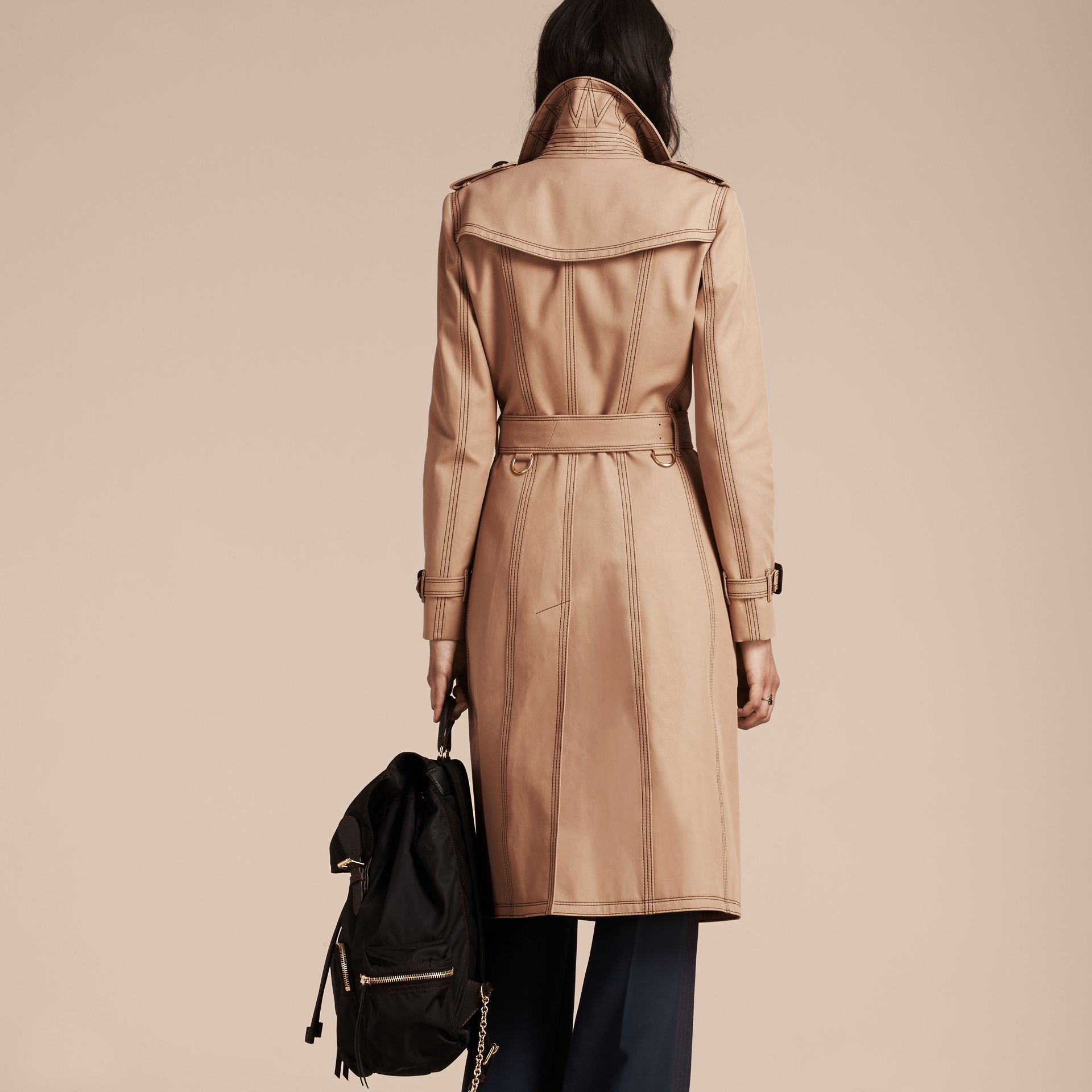 Honey Slim Fit Cotton Trench Coat with Topstitching - gallery image 3