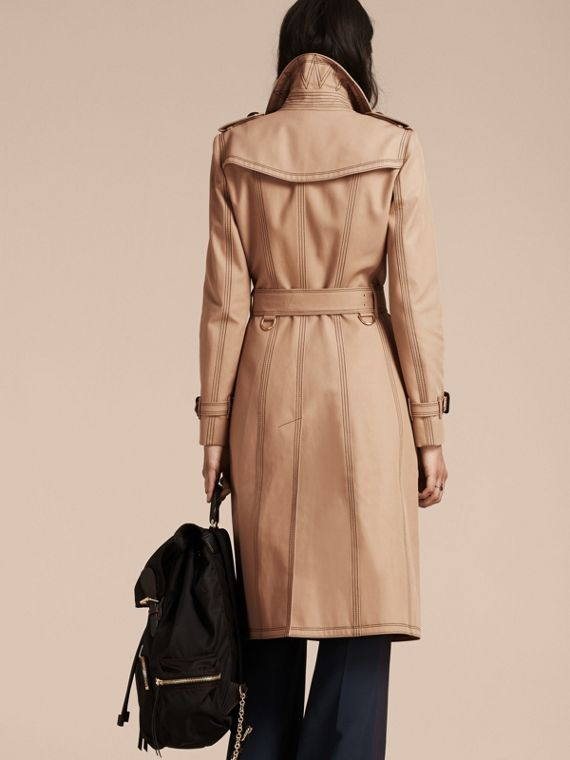 Honey Slim Fit Cotton Trench Coat with Topstitching - cell image 2