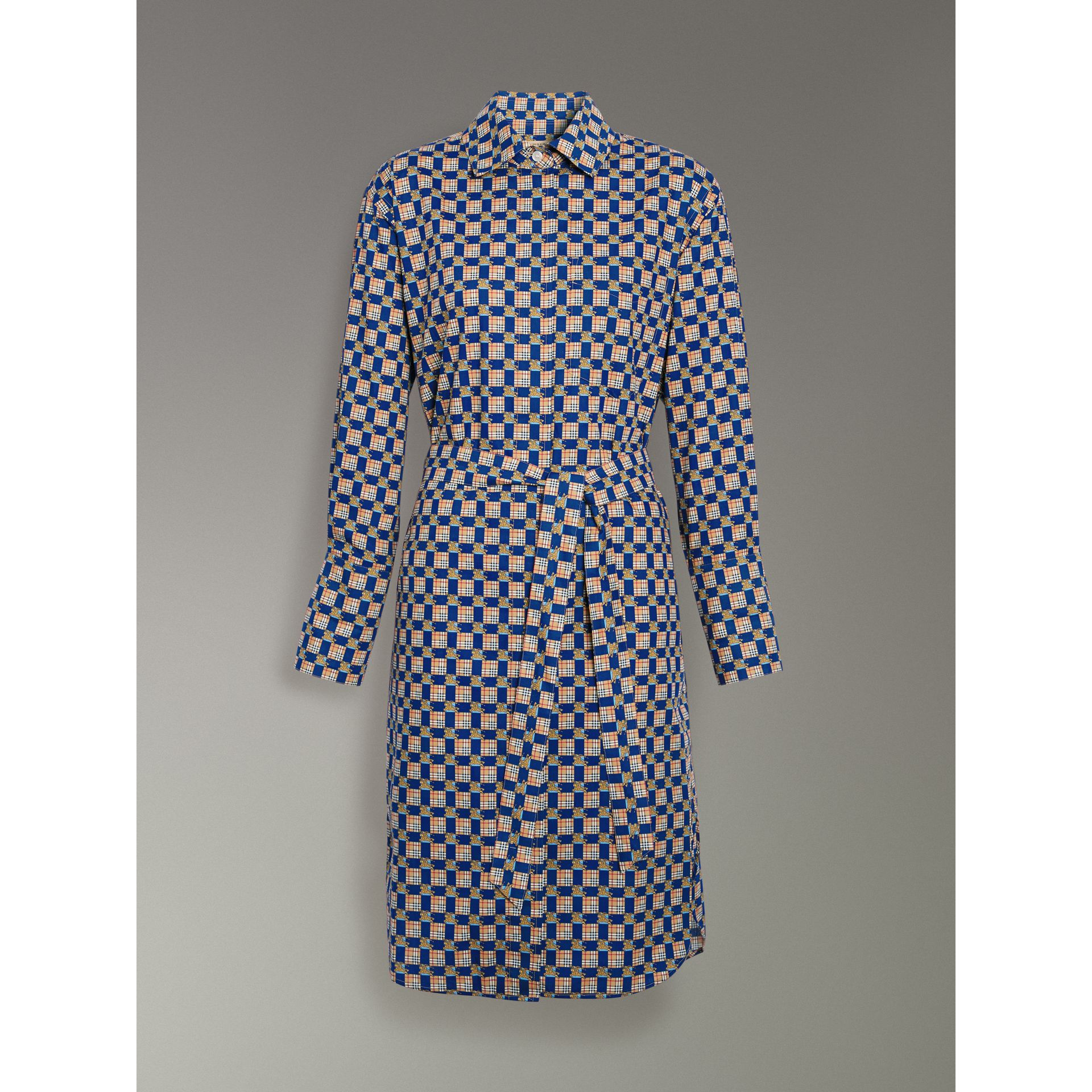 Tiled Archive Print Cotton Shirt Dress in Navy - Women | Burberry - gallery image 3