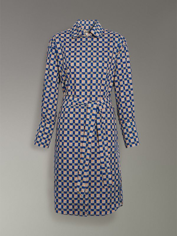 Tiled Archive Print Cotton Shirt Dress in Navy - Women | Burberry United States - cell image 3