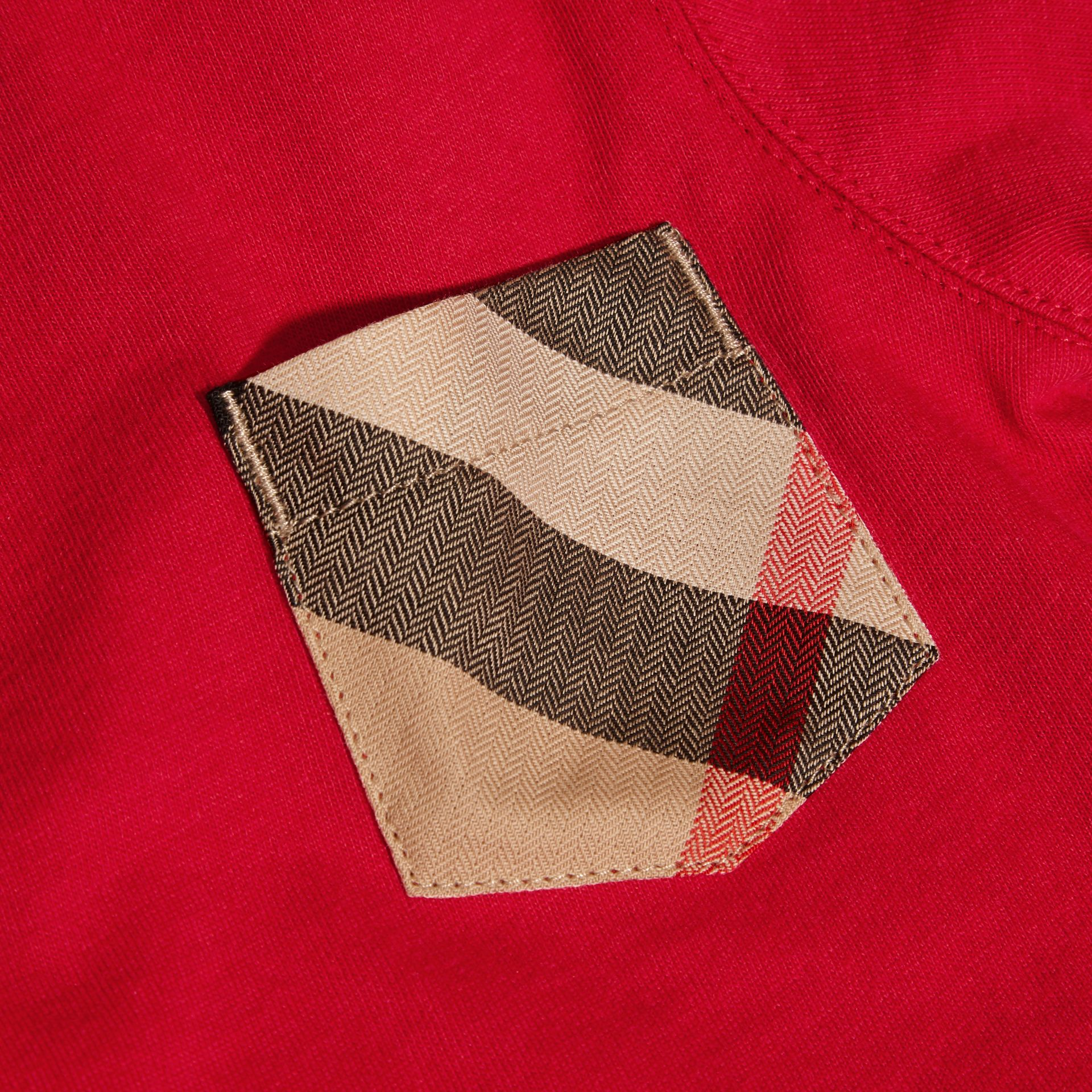 Long-sleeve Check Pocket Cotton T-shirt in Military Red - Boy | Burberry - gallery image 2