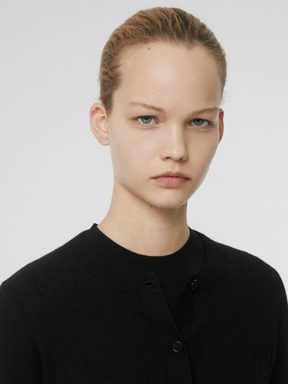 Rib Knit Cashmere Cardigan in Black - Women | Burberry Australia - cell image 1