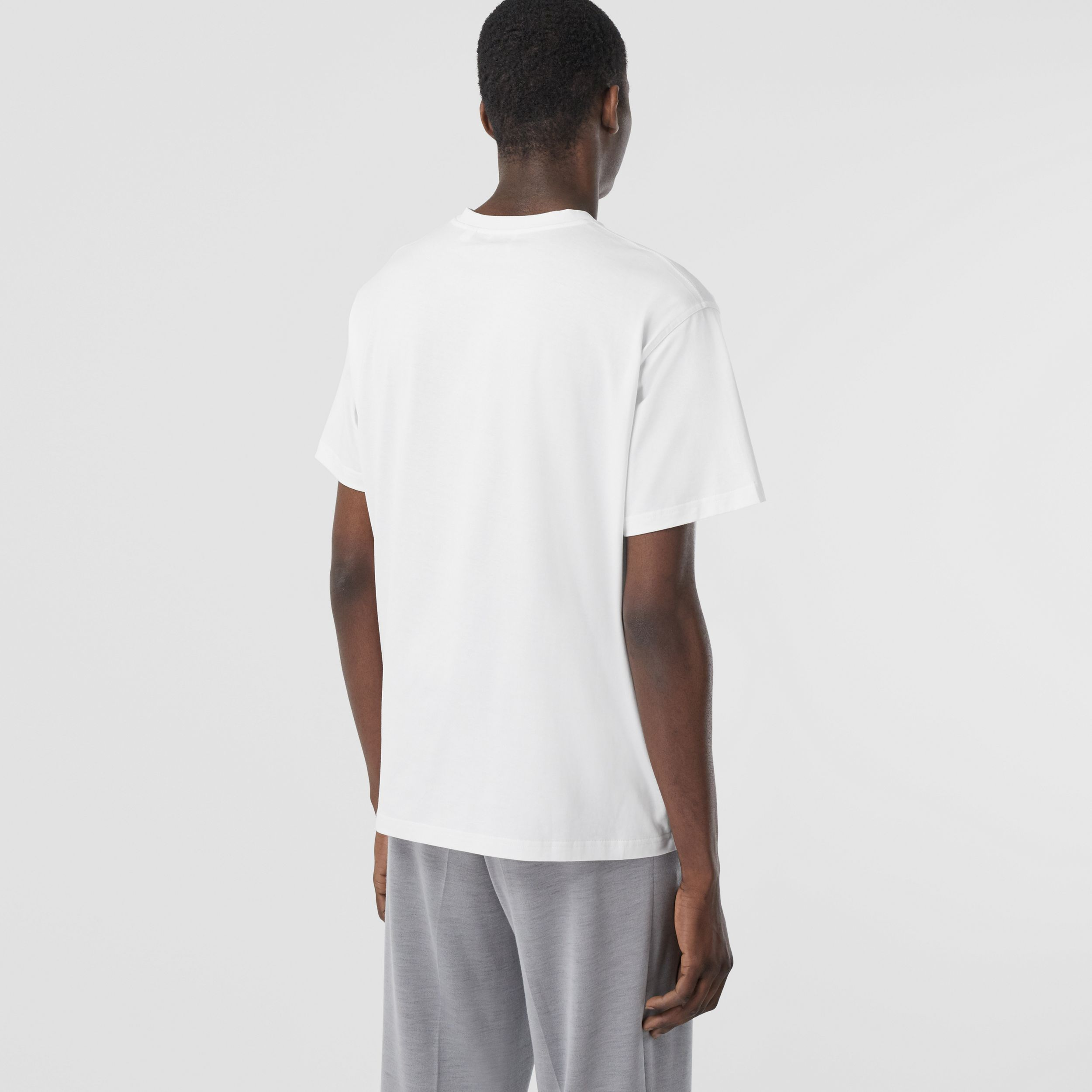Swan and Logo Print Cotton Oversized T-shirt in Optic White - Men | Burberry - 3
