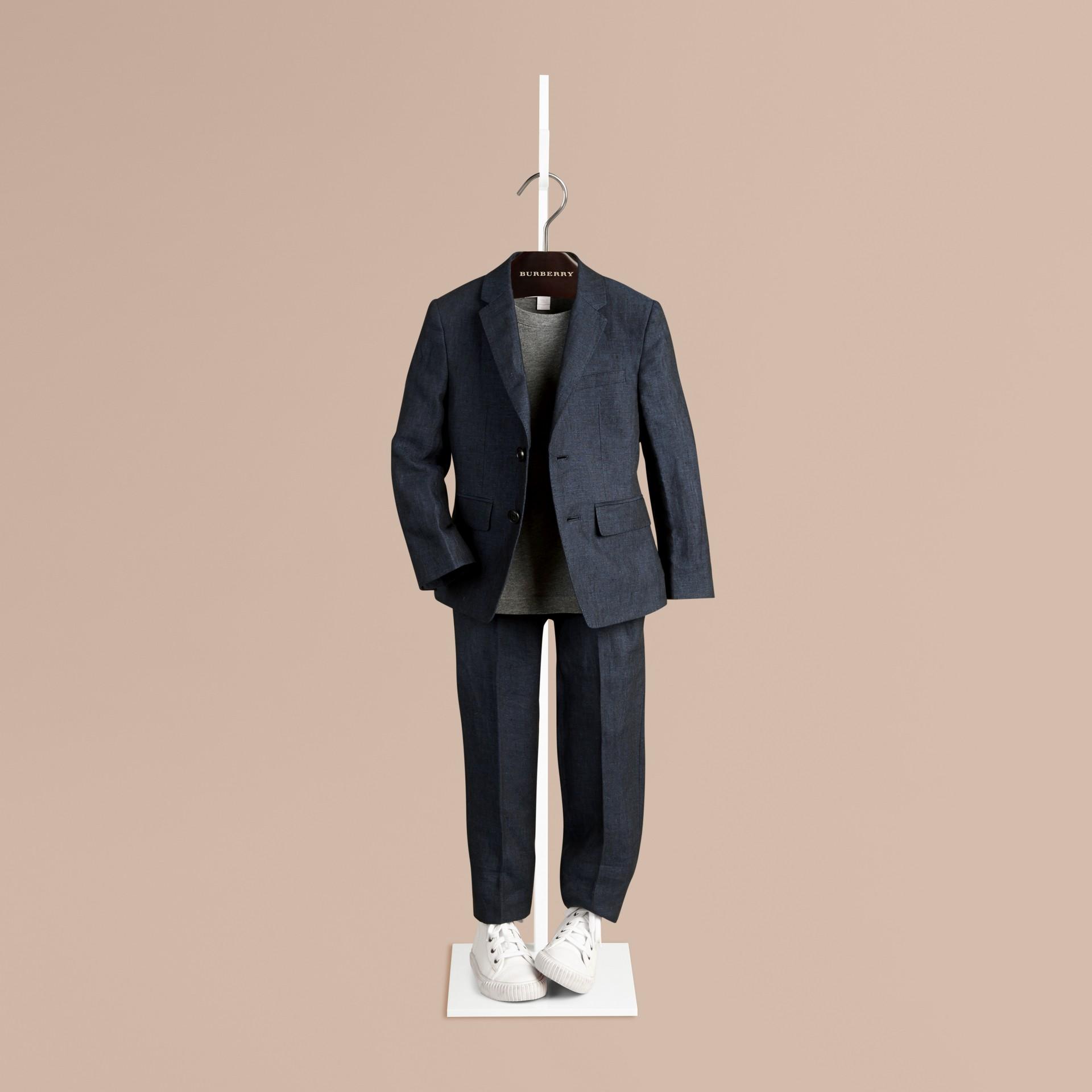 Navy Linen Tuxedo Jacket - gallery image 1