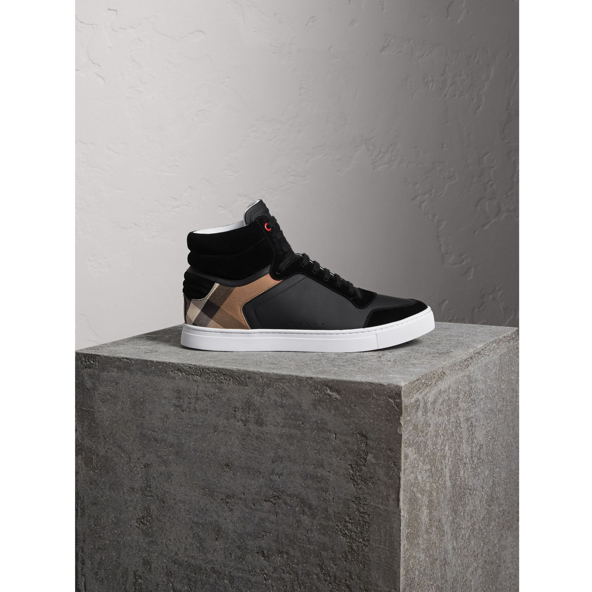 Leather and House Check High-top Trainers in Black - Men | Burberry Australia - gallery image 1