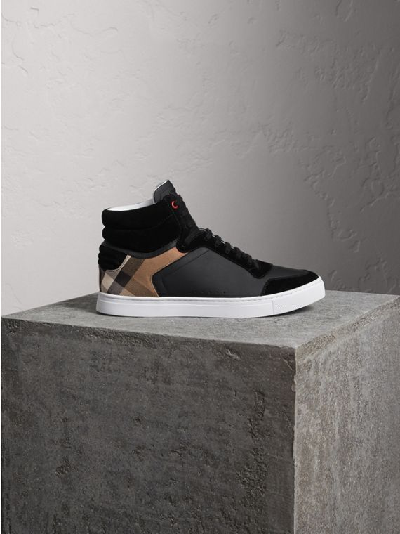 Leather and House Check High-top Trainers in Black