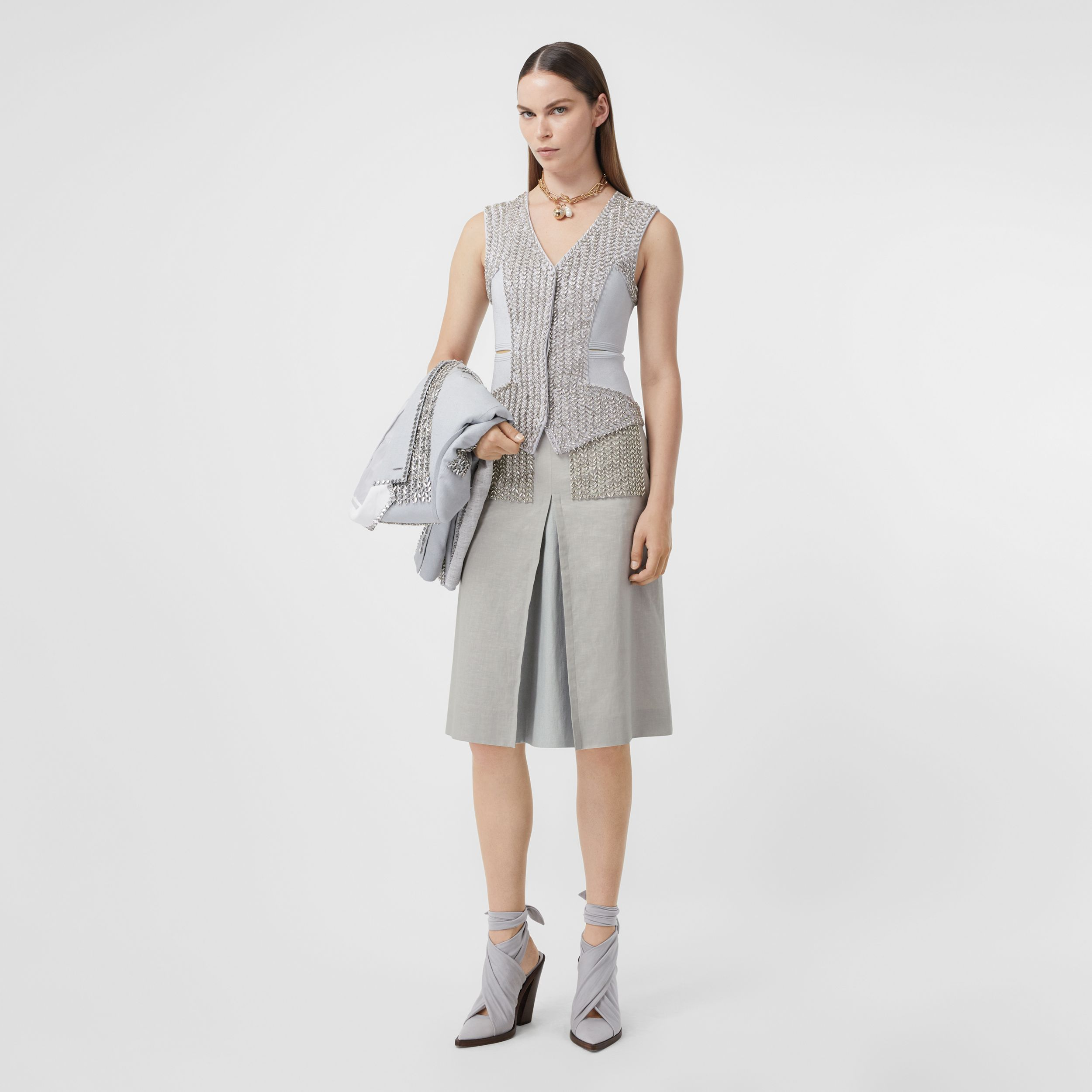 Crystal Embroidered Box-pleat Detail Linen A-line Skirt in Grey Melange - Women | Burberry - 1