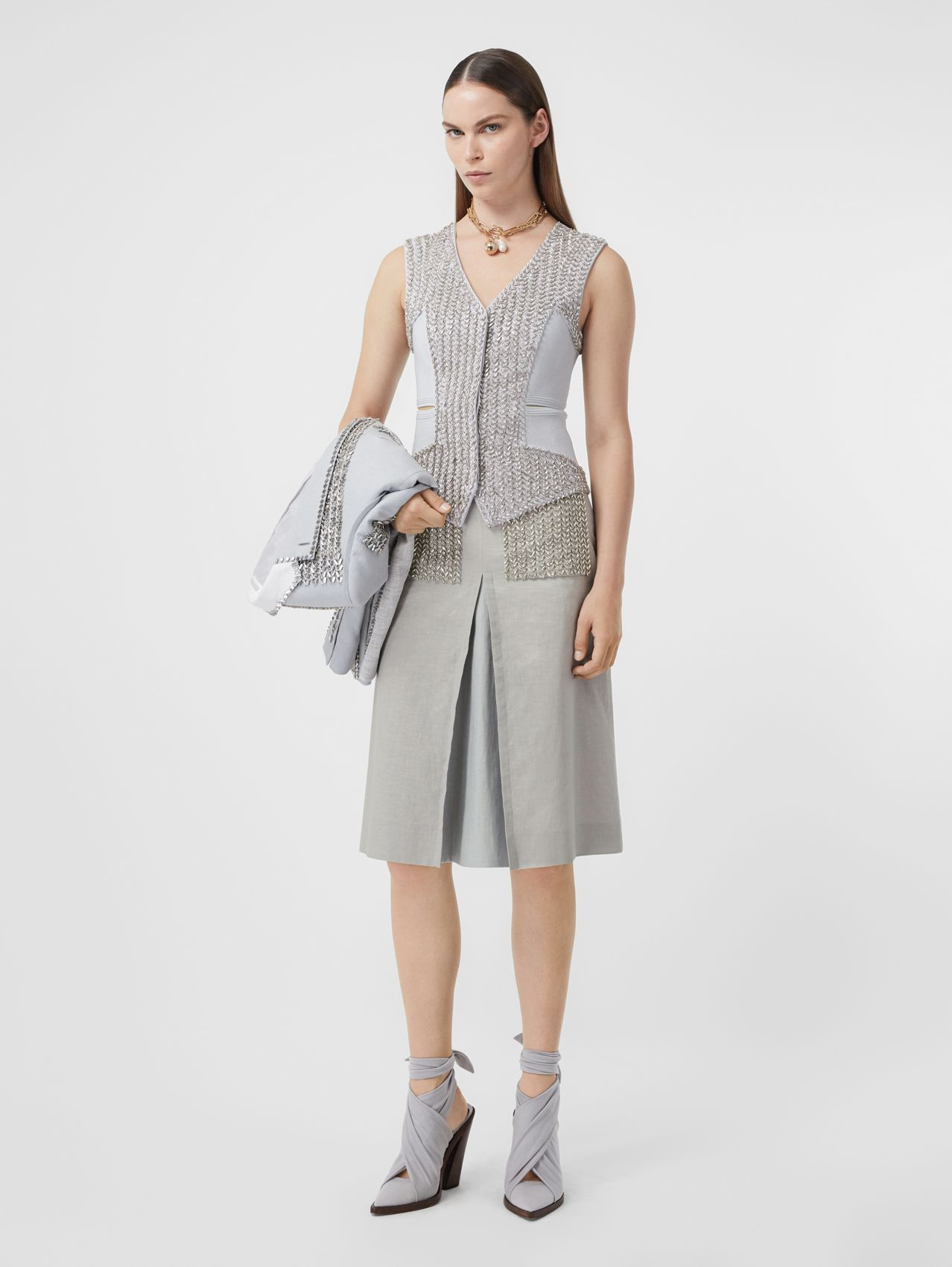 Crystal Embroidered Box-pleat Detail Linen A-line Skirt in Grey Melange