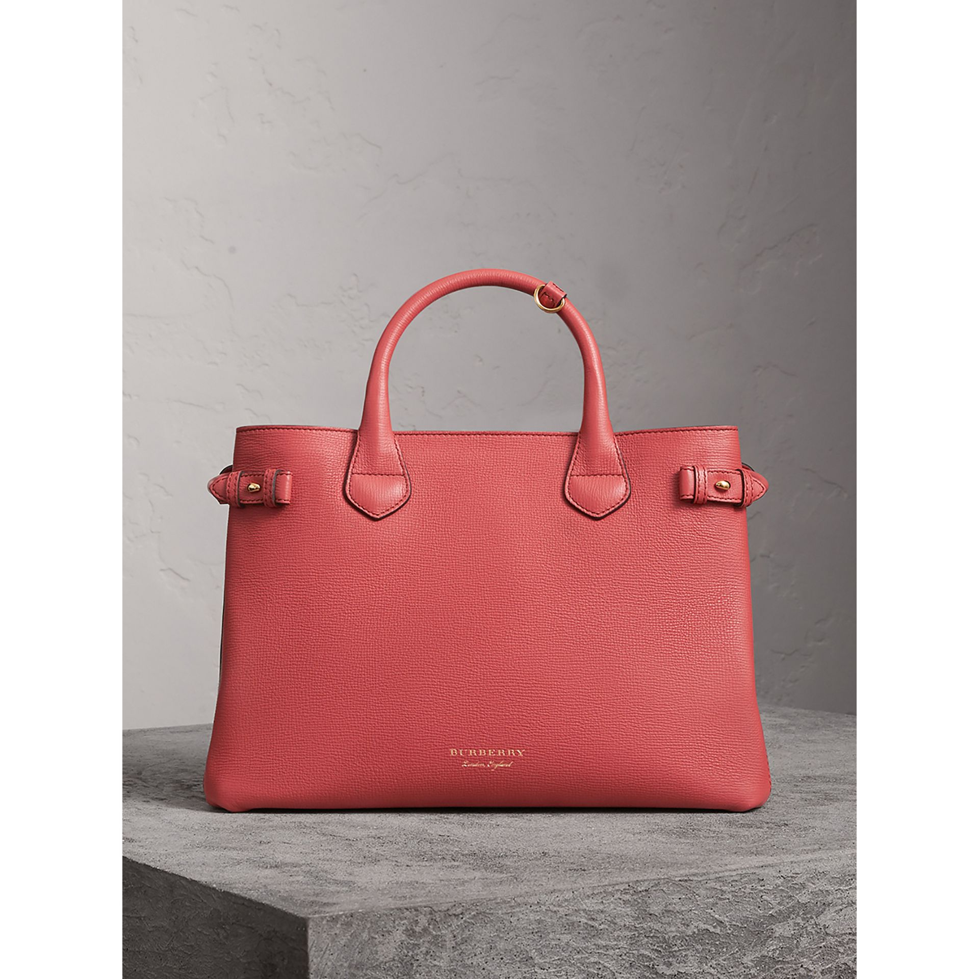 Sac The Banner moyen en cuir et coton House check (Cannelle Rouge) - Femme | Burberry - photo de la galerie 7