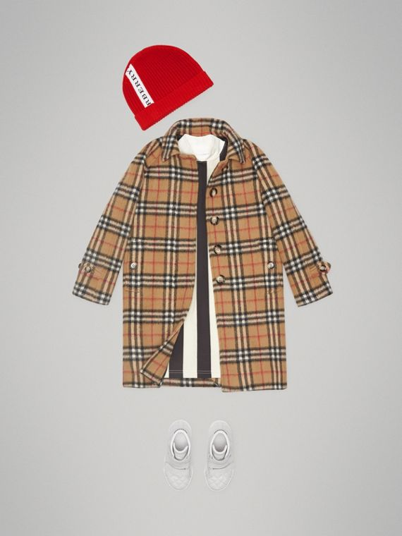 Vintage Check Alpaca Wool Blend Car Coat in Antique Yellow - Girl | Burberry - cell image 2