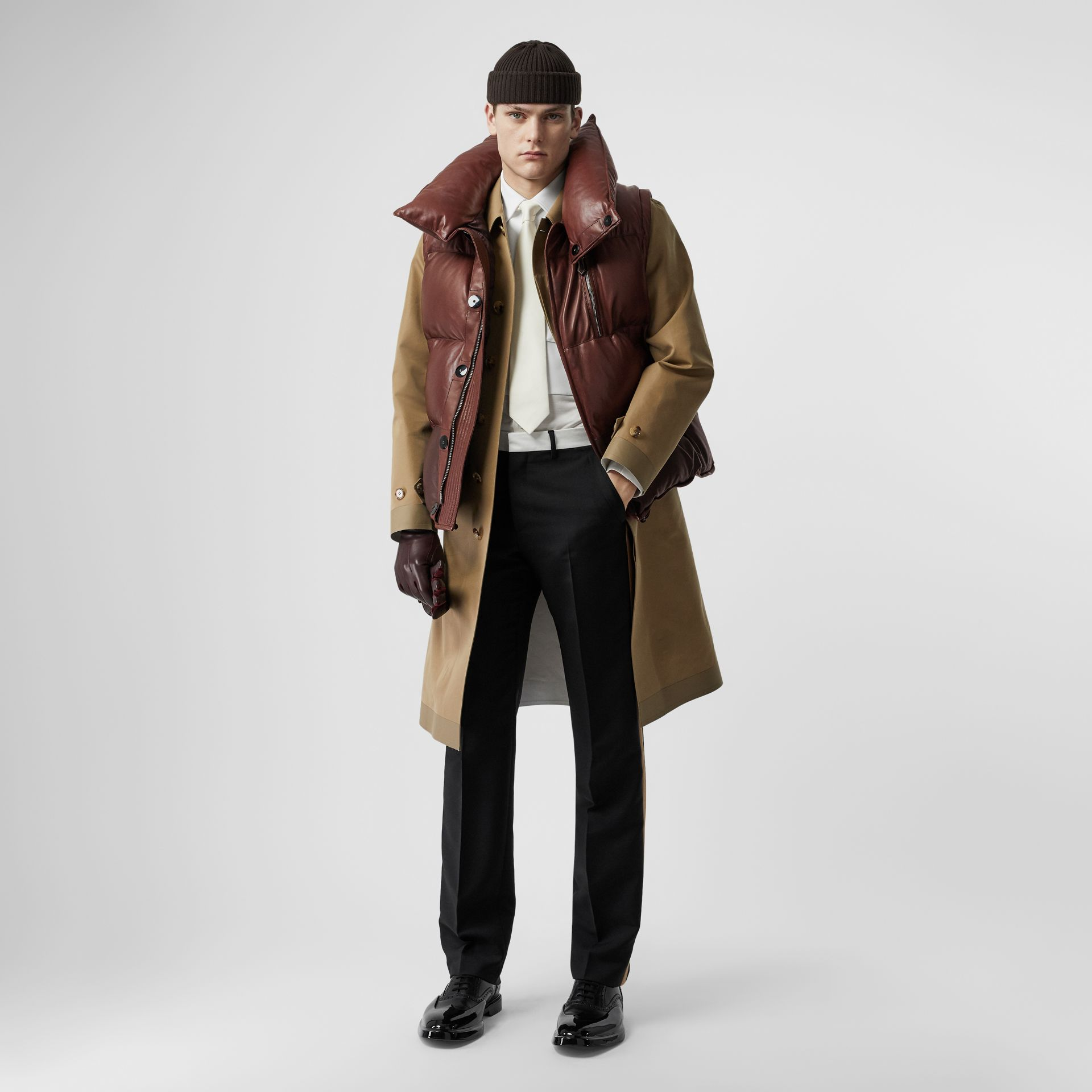 Down-filled Lambskin Puffer Gilet in Dark Mocha - Men | Burberry - gallery image 0