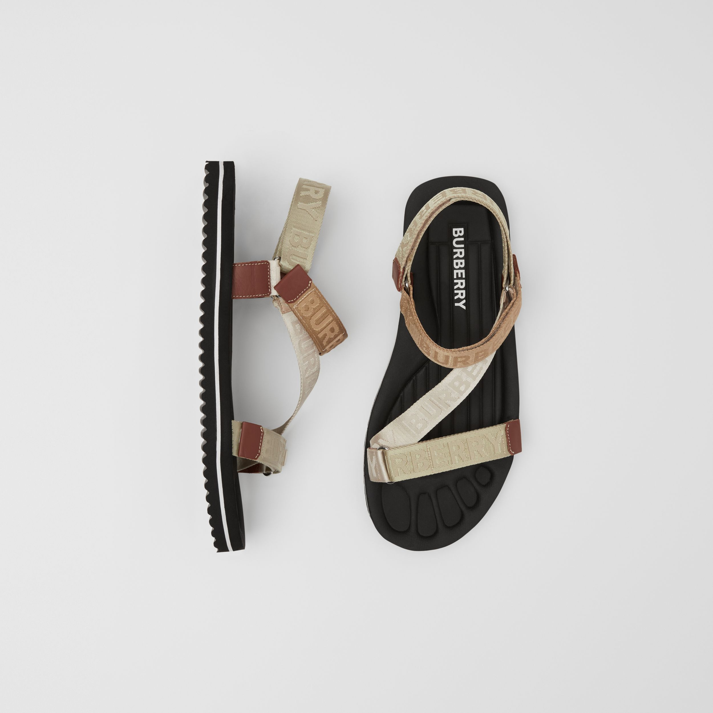 Logo Jacquard Sandals in Archive Beige - Men | Burberry Australia - 1