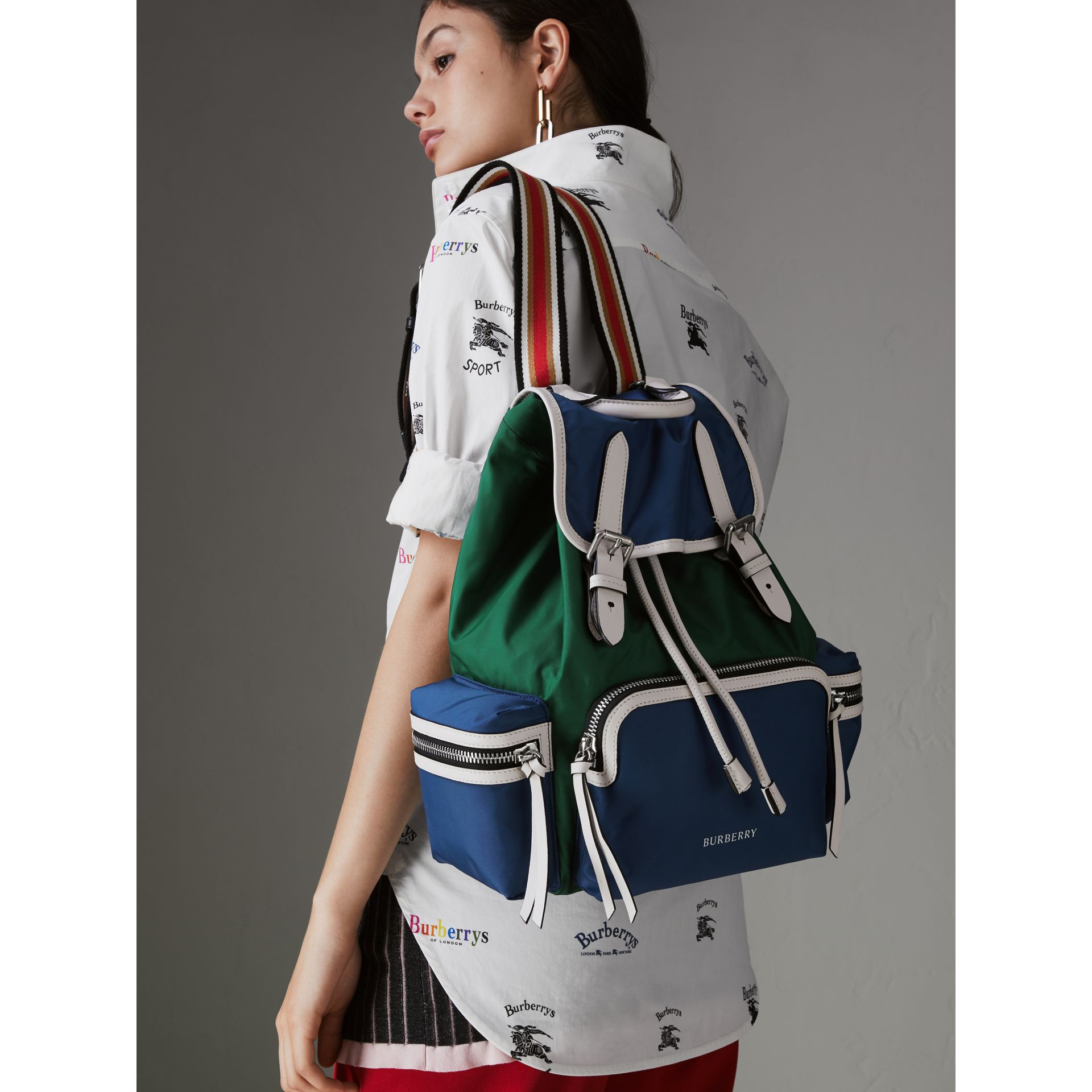 The Medium Rucksack in Colour Block Nylon and Leather in Dark Canvas Blue - Women | Burberry United States - gallery image 3