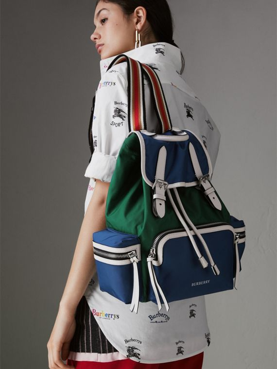 The Medium Rucksack in Colour Block Nylon and Leather in Dark Canvas Blue - Women | Burberry - cell image 3