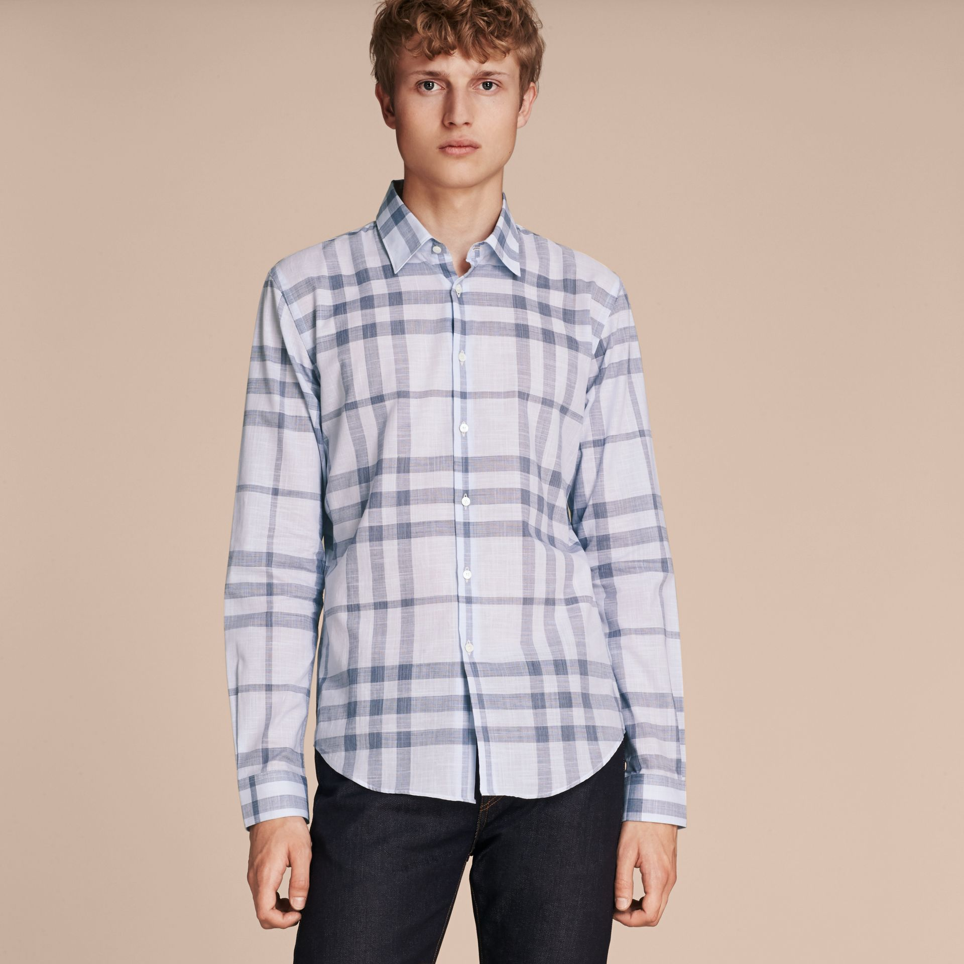 Check Cotton Chambray Shirt Mineral Blue - gallery image 6