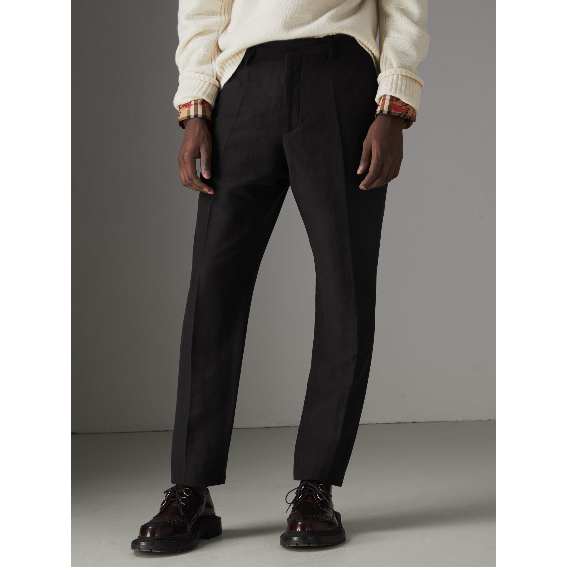 Linen Silk Tailored Trousers in Black - Men | Burberry - gallery image 4