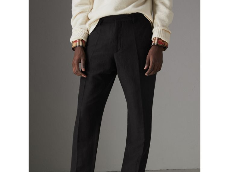 Linen Silk Tailored Trousers in Black - Men | Burberry - cell image 4
