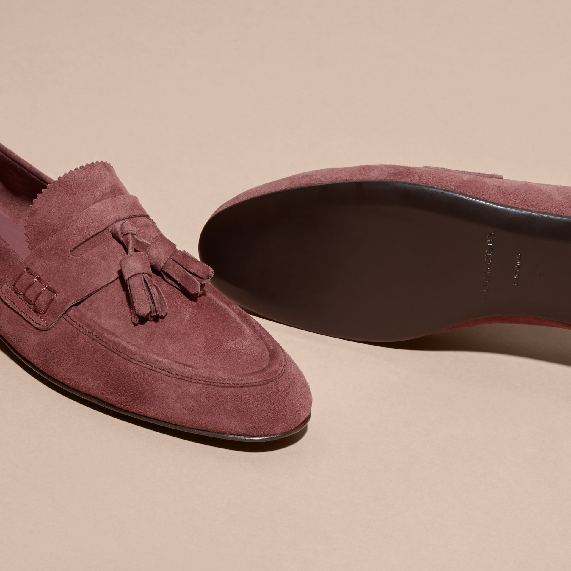 Tasselled Suede Loafers Taupe Rose - gallery image 6