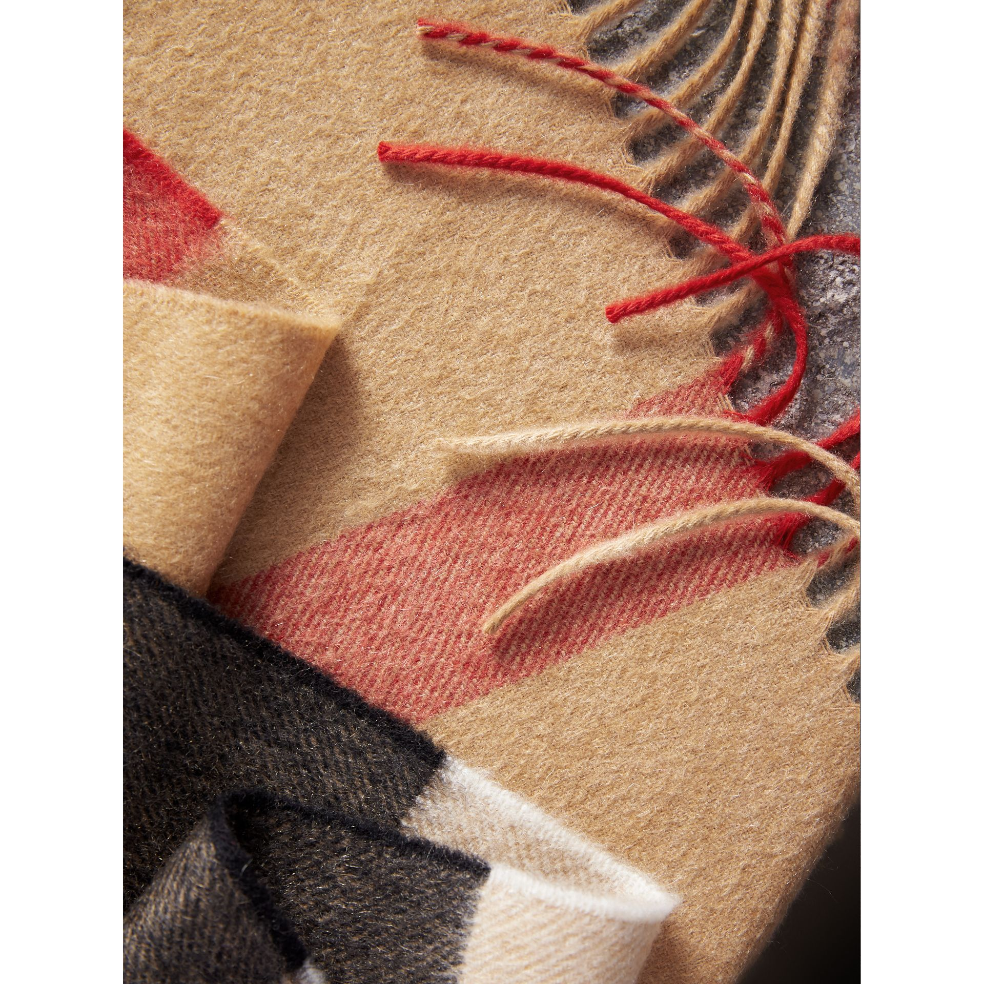 Check Cashmere Wrap in Camel | Burberry - gallery image 1