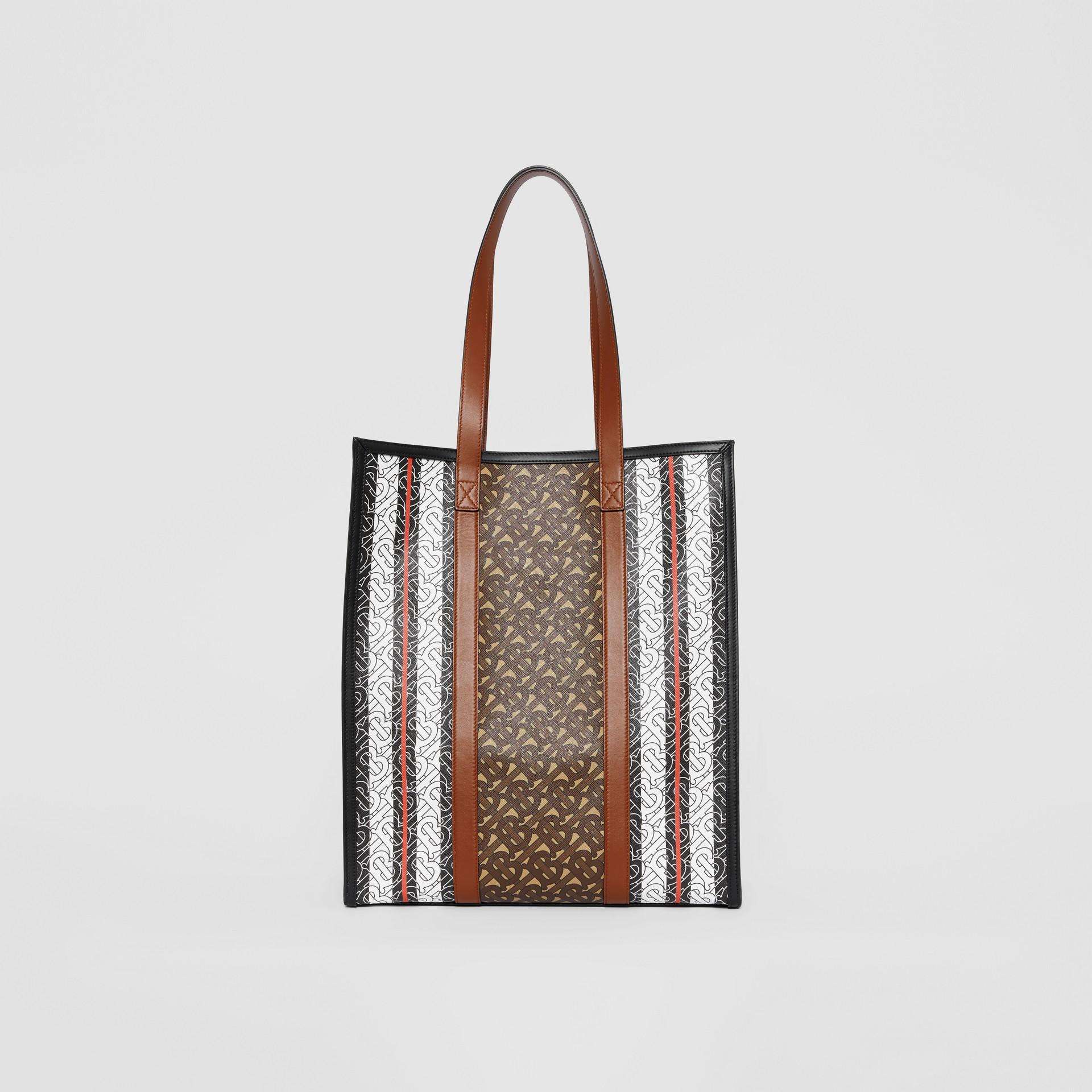 Monogram Stripe E-canvas Portrait Tote Bag in Bridle Brown - Women | Burberry - gallery image 9