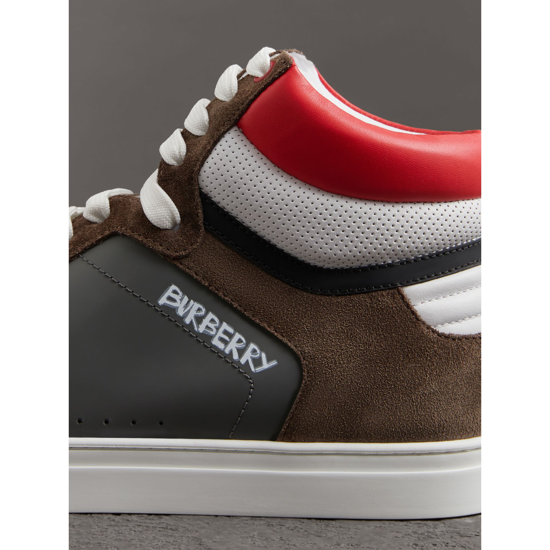 Suede and Leather High-top Sneakers in Steel Grey - Men | Burberry - gallery image 1