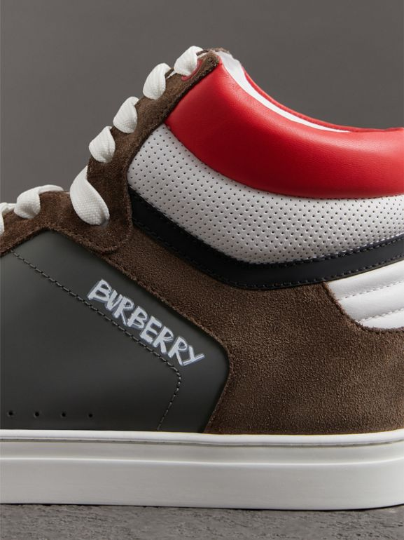 Suede and Leather High-top Sneakers in Steel Grey - Men | Burberry United Kingdom - cell image 1