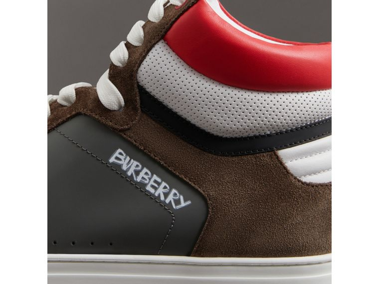 Suede and Leather High-top Sneakers in Steel Grey - Men | Burberry - cell image 1