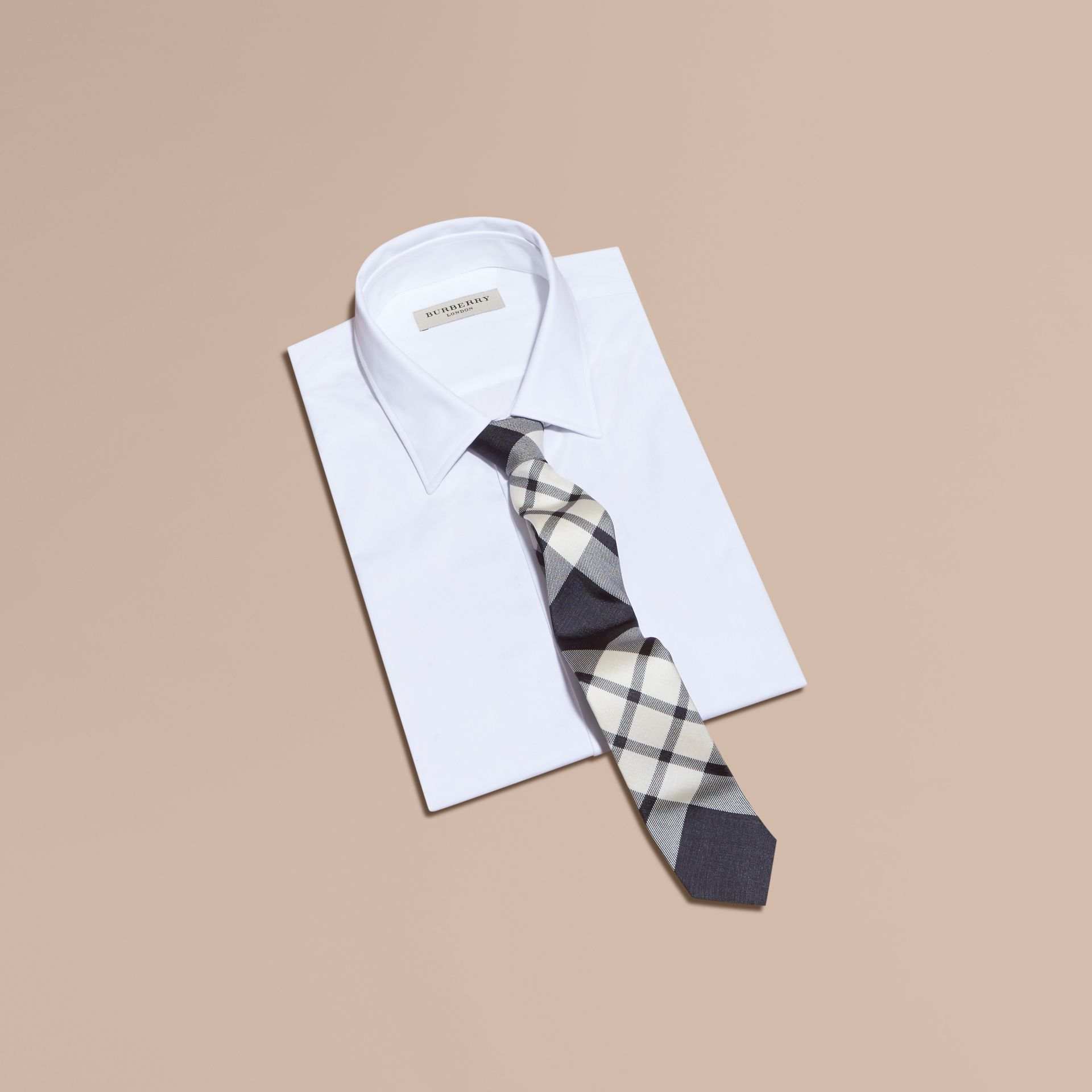 Slim Cut Check Silk Tie Black - gallery image 3