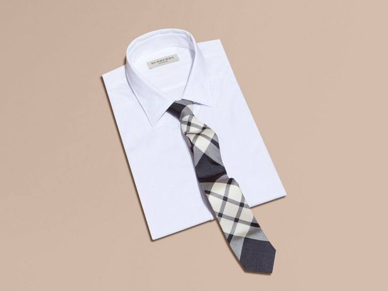 Slim Cut Check Silk Tie Black - cell image 2