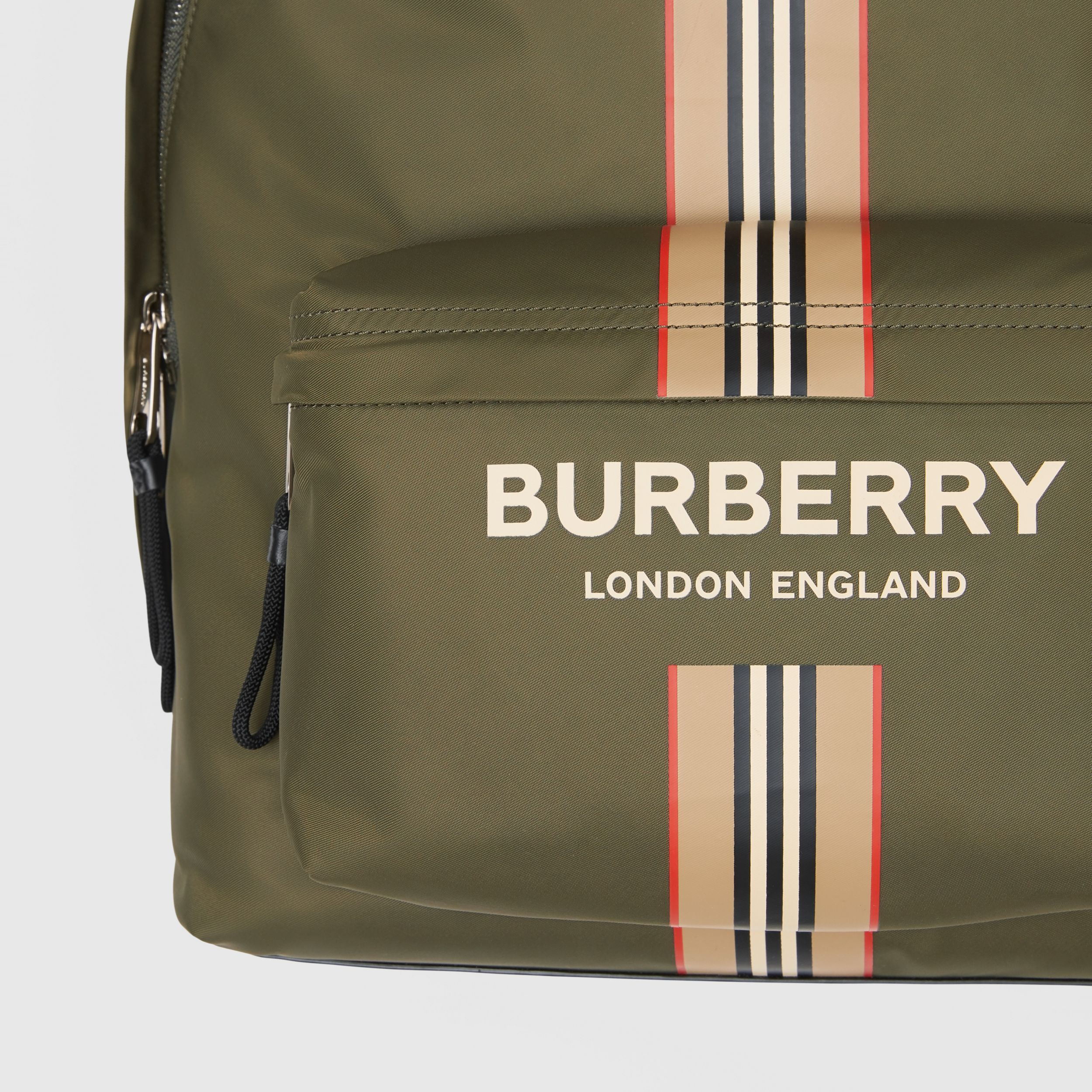 Logo and Icon Stripe Print ECONYL® Backpack in Dark Olive Green | Burberry Hong Kong S.A.R. - 2