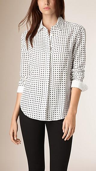 Polka Dot Print Linen Shirt