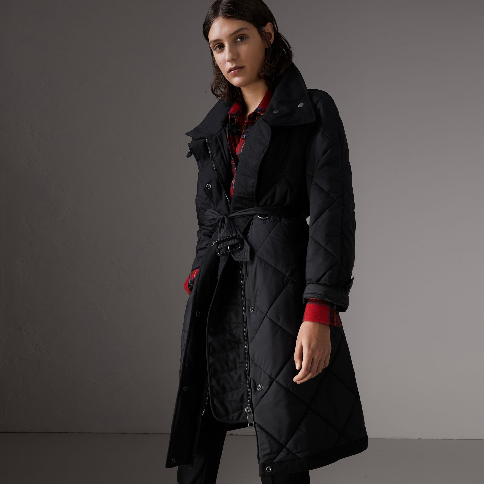 Packaway Hood Diamond Quilted Coat in Black - Women | Burberry - gallery image 0