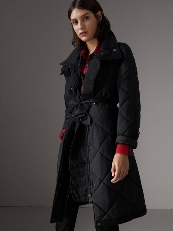 Packaway Hood Diamond Quilted Coat in Black