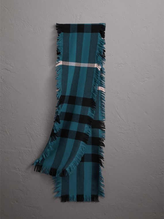 Fringed Check Wool Scarf in Steel Blue