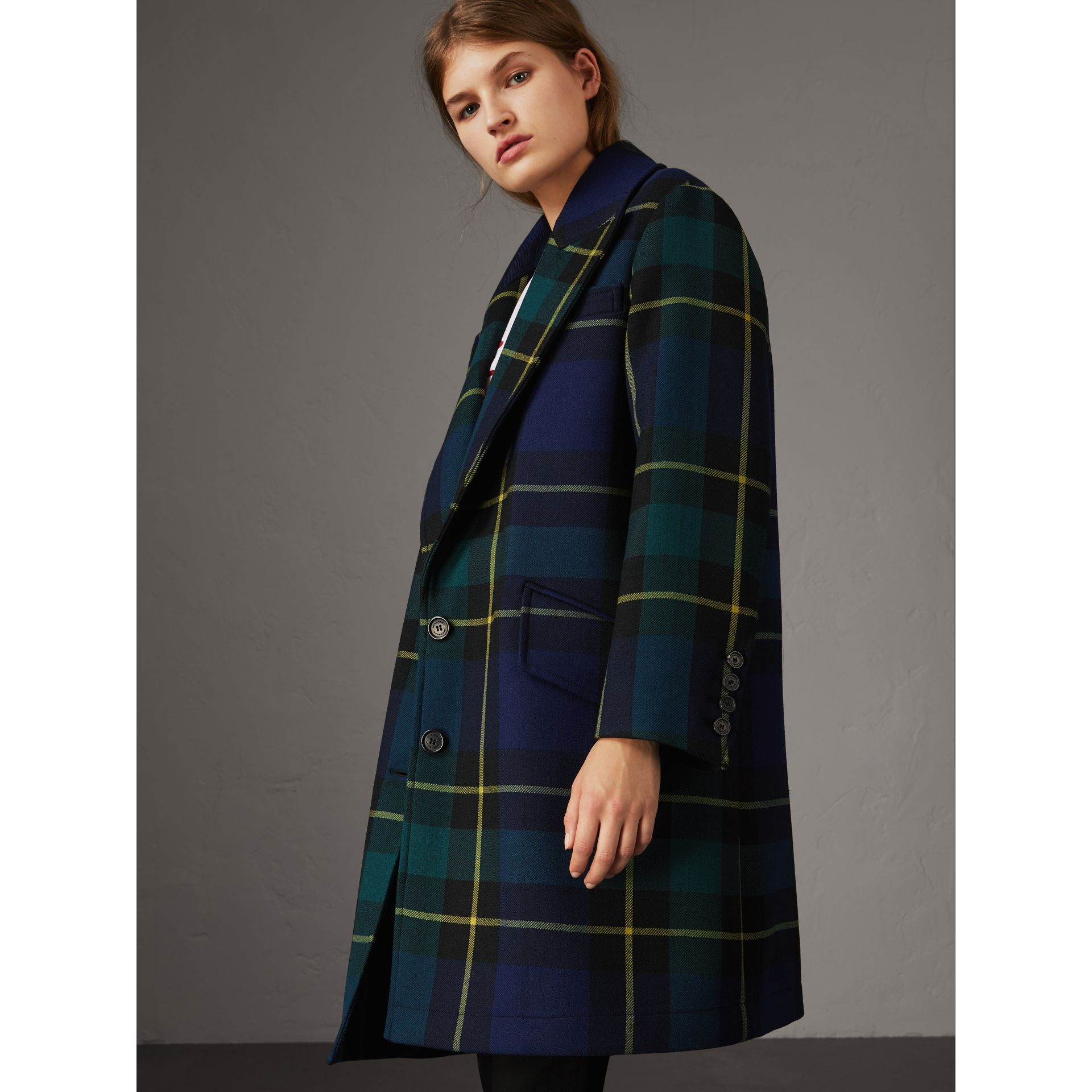 Lightweight Tartan Wool Tailored Coat in Pine Green - Women | Burberry - gallery image 6